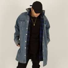 [Nameout] Oversized Denim Coat - Blue