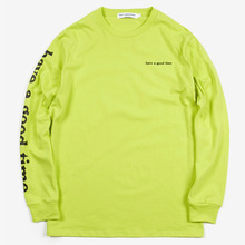 [Have a good time](30%세일) Arm Side Logo L/S Tee - Neon Green