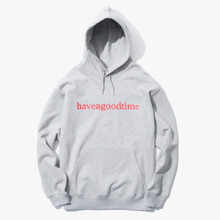[Have a good time] Side Logo Pullover Hoodie - Heather Grey