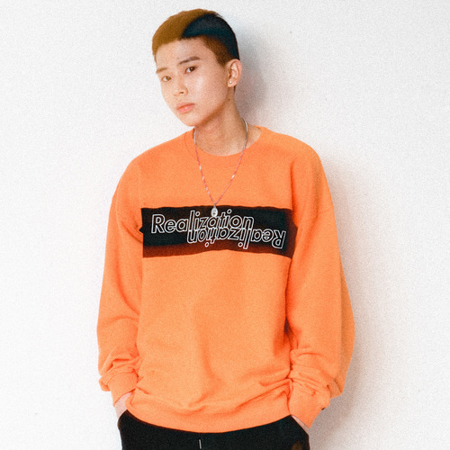 [Realization]Lettering Logo Crewneck-ORANGE