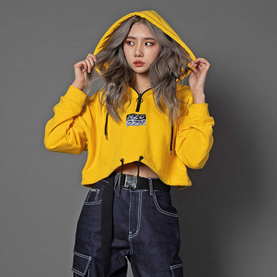 [Noizy Company]CROP ZIP UP HOOD (YELLOW)