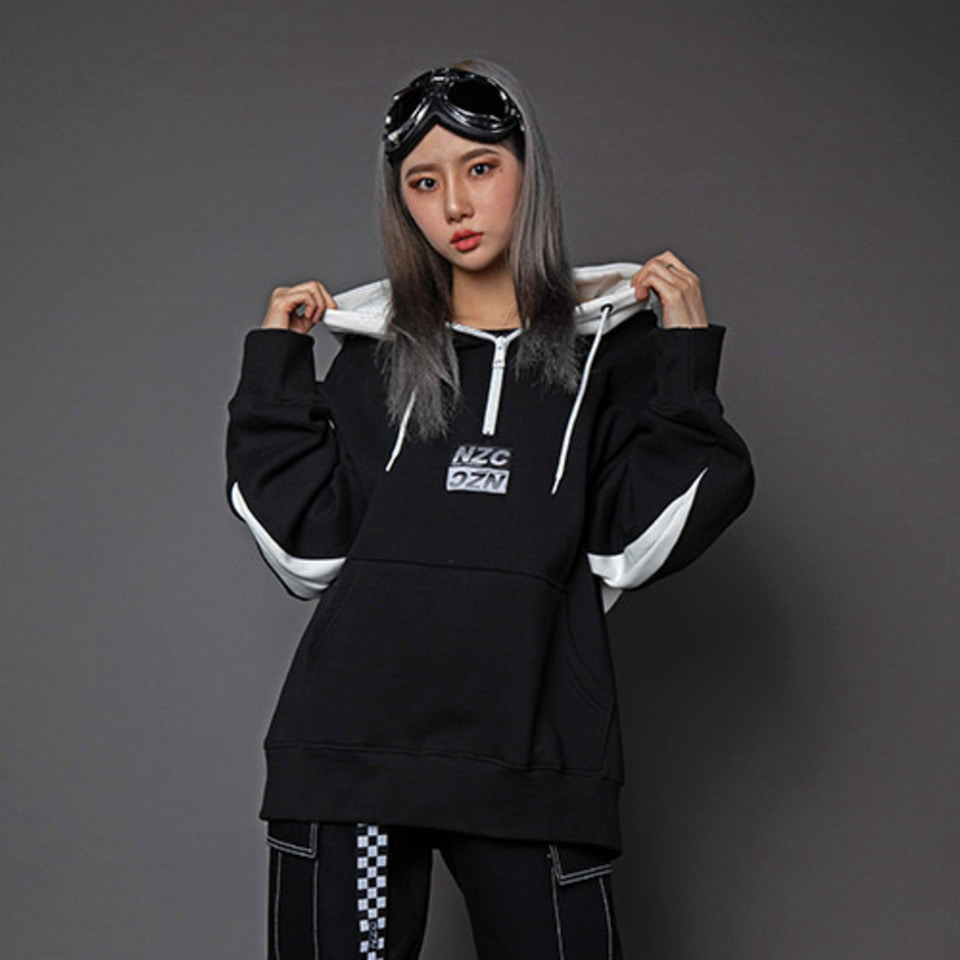 [Noizy Company] NZC ZIP UP HOOD (BLACK/WHITE)