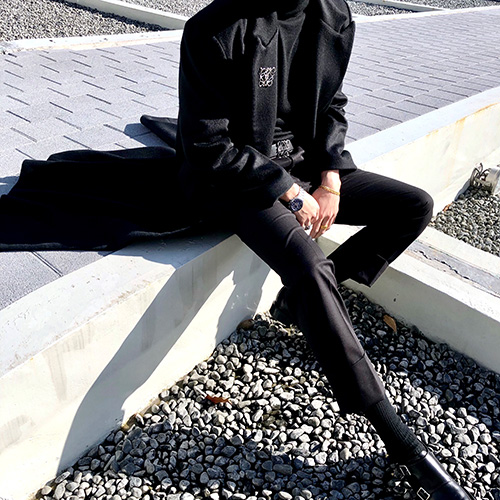 [4BLESS] Graphic Wool Long Coat Black