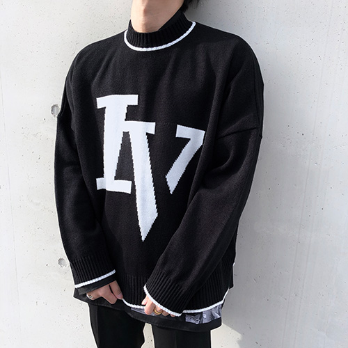 [4BLESS][2차 재입고] Iv Logo Knit Black