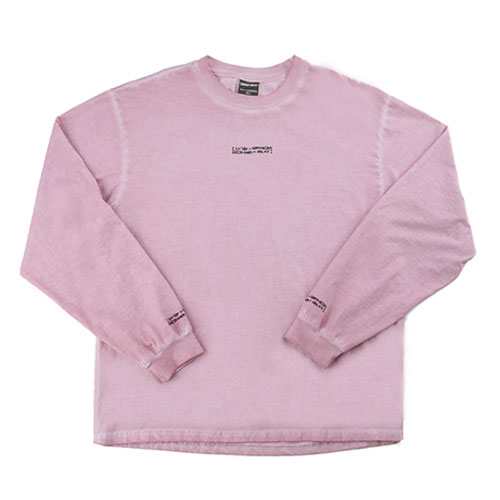 Washed Long Sleeve Crew-Neck Tee ( HAND MADE) - PINK