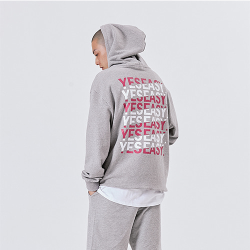 [YESEASY] BACKPRINT HOODIE - GRAY