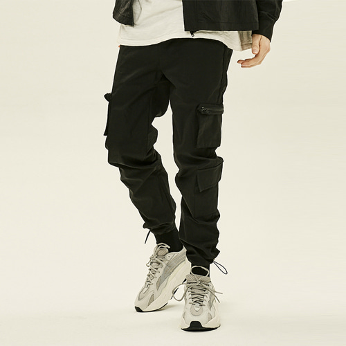 [DEADEND] CARGO ZIPPER STRING PANTS - BLACK