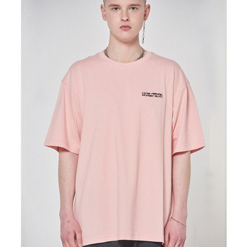 Embroidery Front Tee - PEACH
