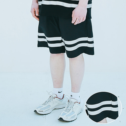 [APPARELXIT] UNISEX SCOTH TAPE HALF PANTS BLACK
