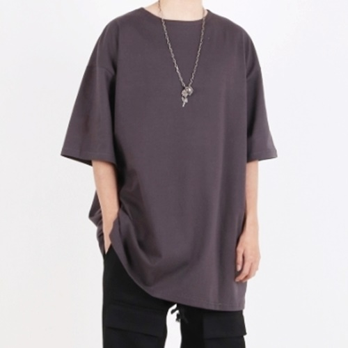 [Nar_Yoke] Super Overfit Boat-Neck T-Shirt - Charcoal