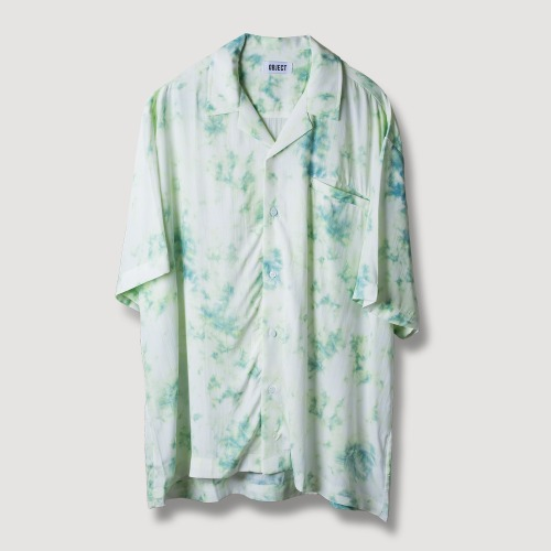 [OBJECT] TIE DYE HAWAIIAN SHIRT - MINT