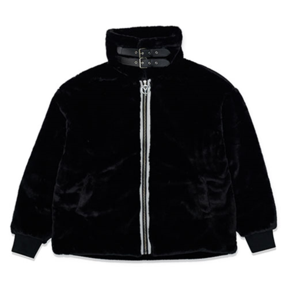[OY] LOGO FUR JACKET - BLACK