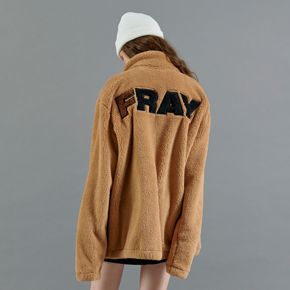 BASIC LOGO FLEECE JACKET - BEIGE