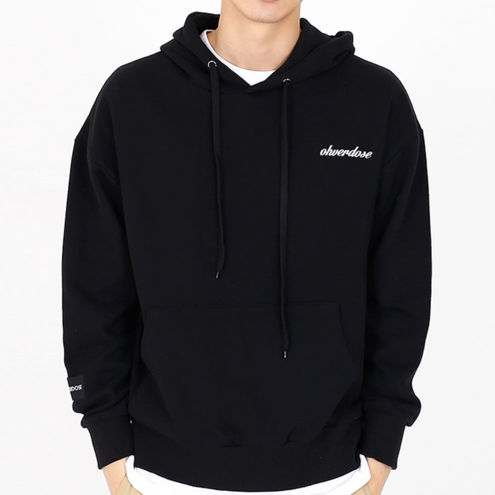 [OHVERDOSE]POINT LOGO HOODIE BLACK