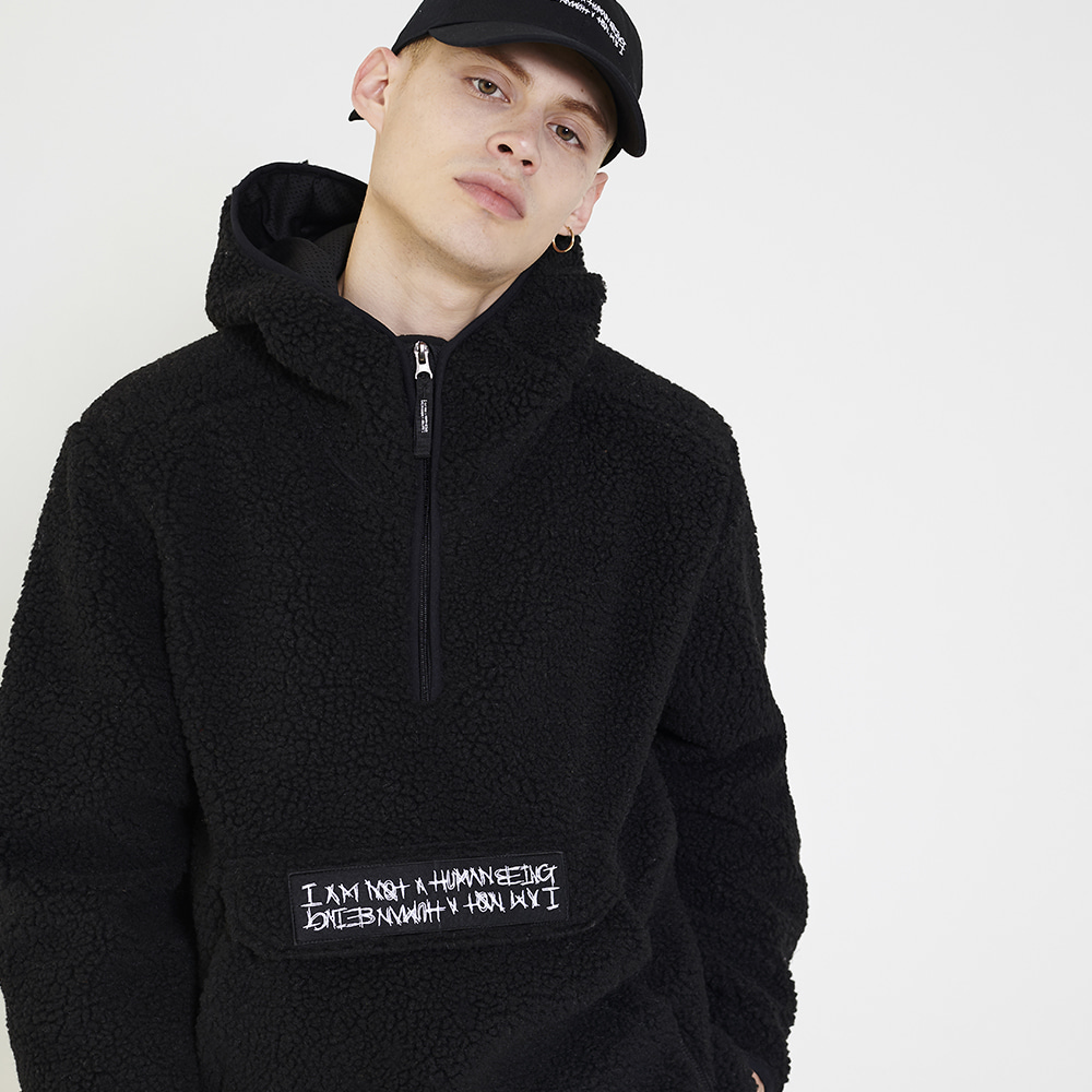 Fleece pullover Anorak Hoodie-Jacket - Black