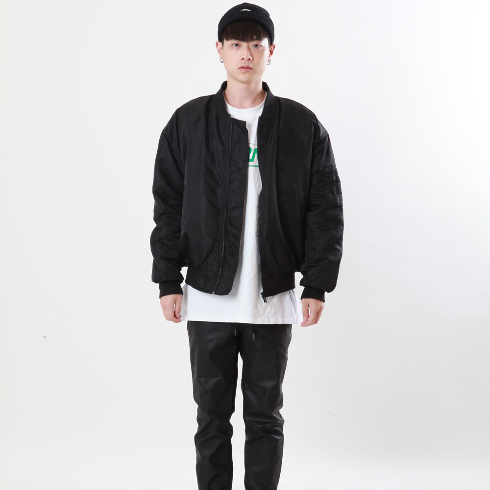 [Double adrenaline syndrome]embroidered ma-1 jacket(black)