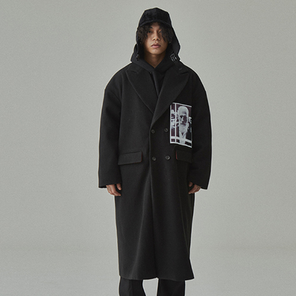 [WANTON]FACE LONG COAT BLACK