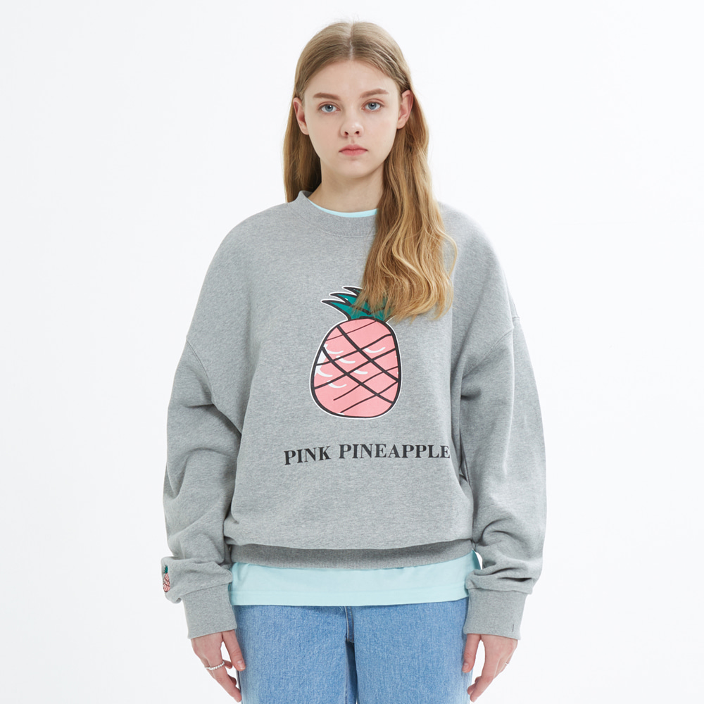 [PINK PINEAPPLE] BIG LOGO SWEATSHIRT_MELANGE GRAY