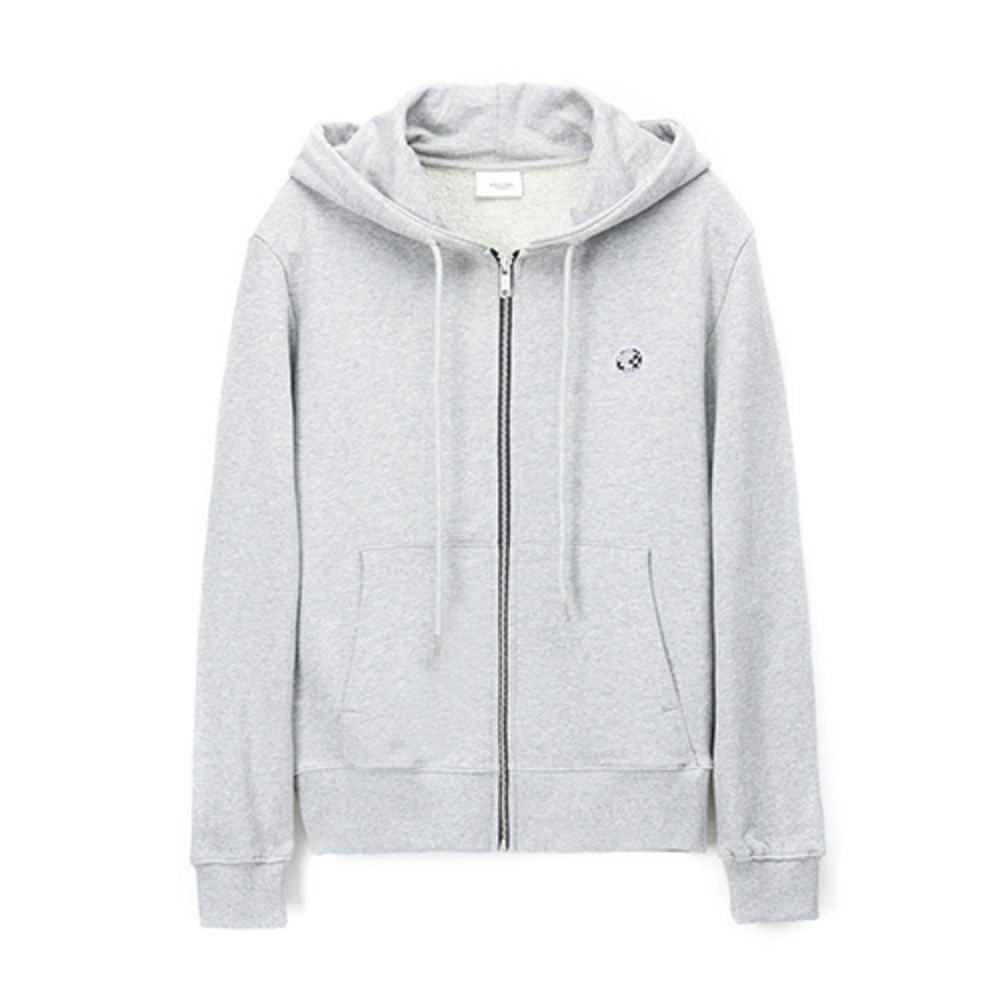 [Rolling Studios] MIRRORBALL EMBROIDERED ROLLING FLOCKED ZIPPED HOODIE GREY