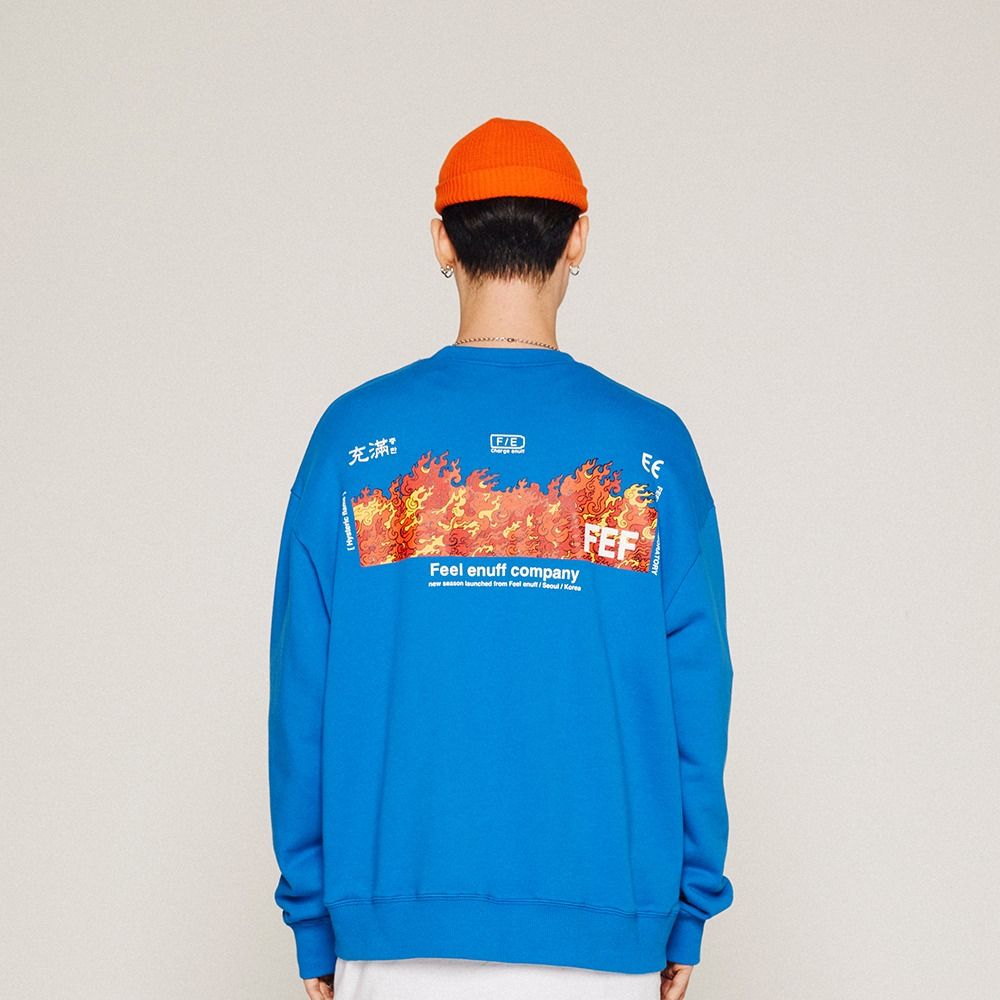 [FEELENUFF] FLAME CREWNECK / BLUE
