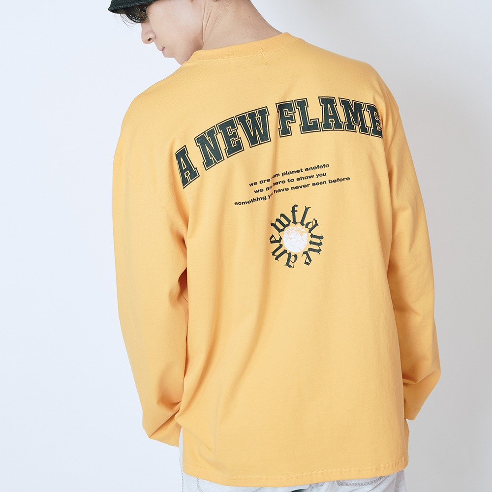 [엔에프에프오] PLANET LOGO LONG SLEEVE TEE YELLOW