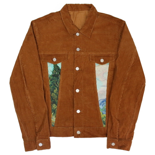 [이지비지] Van Gogh Corduroy Trucker Jacket - Brown