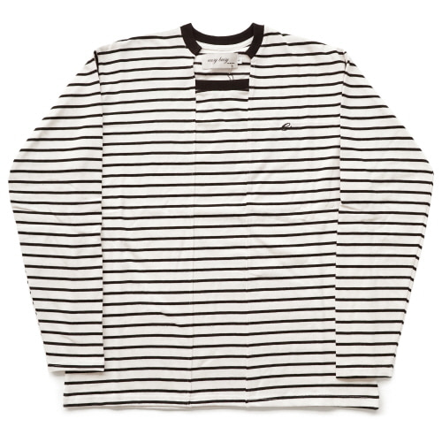 [EASY BUSY] Unbalance Stripe Sleave - Black