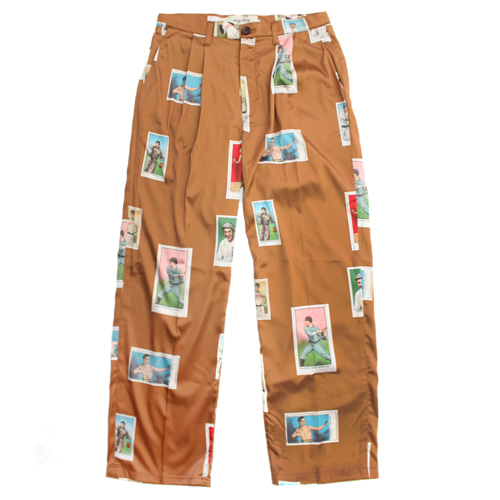 [EASY BUSY] Baseballcard Silk pants - Brown