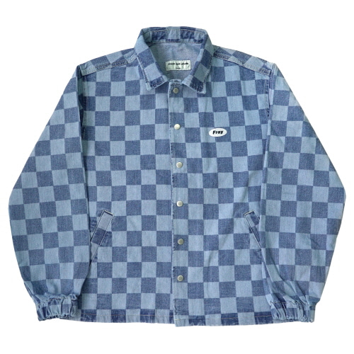 [Fresh anti youth] Checker Denim Jacket - Indigo Blue