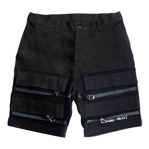 Basic Logo Front Pocket Shorts - Black