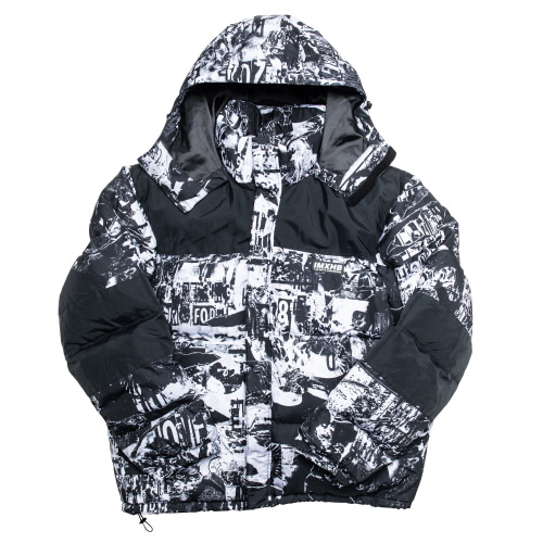 [아임낫어휴먼비잉] TORN PICTURES HEAVY WEIGHT DUCK DOWN JACKET - WHITE/BLACK