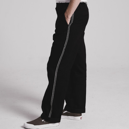 [STAGE NAME]Side tape semi-wide pants_BLACK