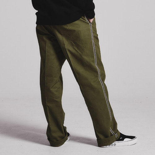 [STAGE NAME]Side tape semi-wide pants_OLIVE KHAKI