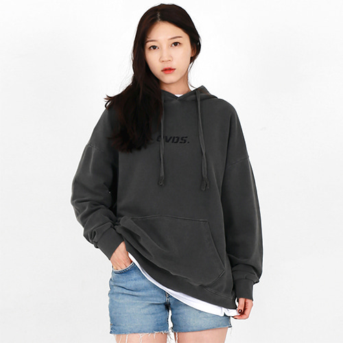 [OHVERDOSE]PIGMENT LOGO HOODIE CHARCOAL