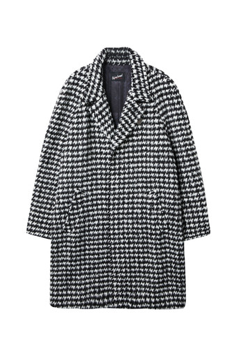[Dying Breed] Houndstooth Check Wool Coat