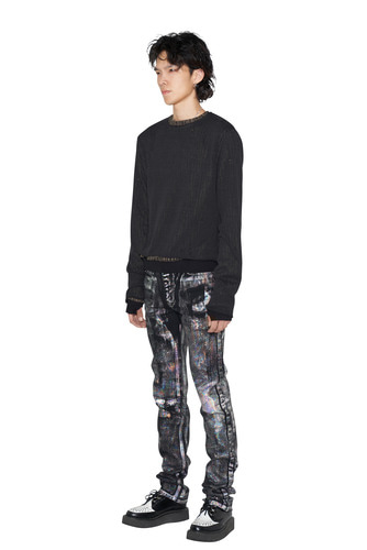 [Dying Breed] Holographic Black Straight Jean