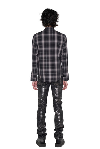 [Dying Breed] Black Metallic Coated Straight Jean