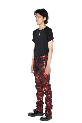 [Dying Breed] Red Metallic Coated Straight Jean