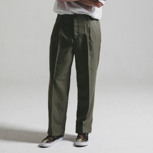 [STAGE NAME][헤비TR원단]Heavy TR wide SLACKS_KHAKI