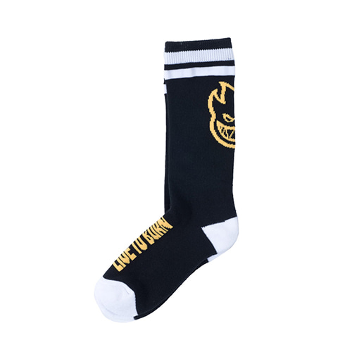 [Spitfire] HEADS UP SOCK-Youth(Size: 5Y-7Y) - BLACK/WHITE/YELLOW