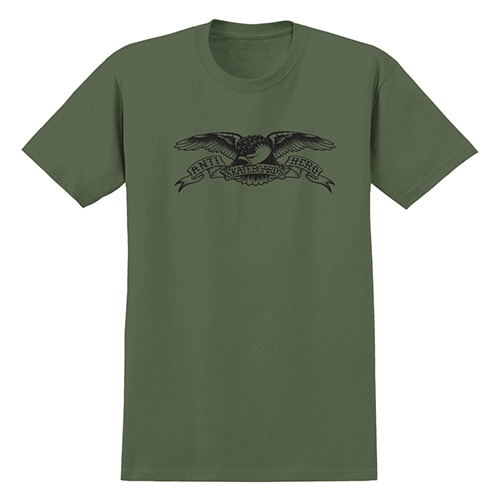 [안티히어로] BASIC EAGLE S/S T-SHIRT - MILITARY GREEN / BLACK Print