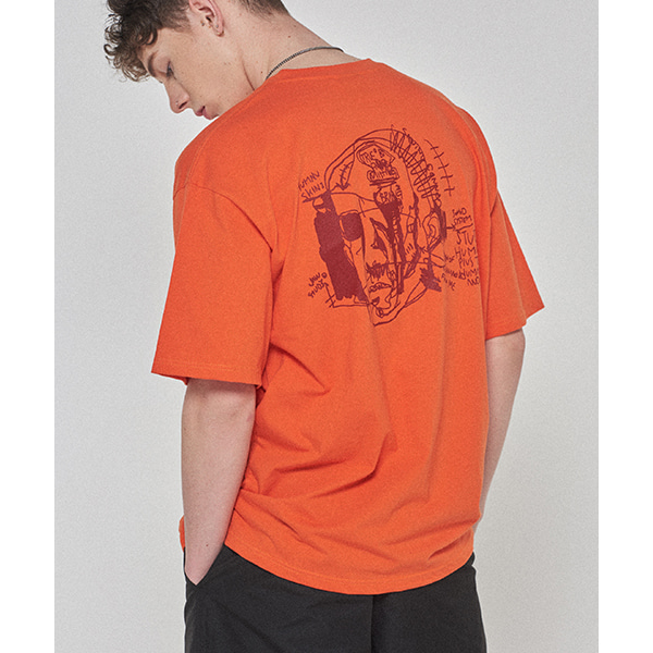 Doodle Head Tee - ORANGE