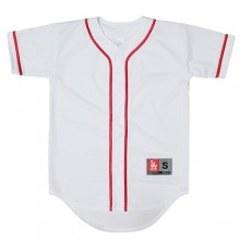 Heavy Mesh Baseball Jersey - White&Red