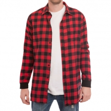 Extra Long Side Zip Flannel Shirt - Red/Black