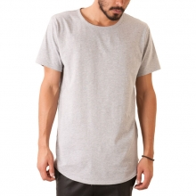 The Curved Hem Tail Tee In Heather Grey