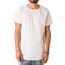 The Curved Hem Tail Tee In White