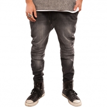 The Stretch Moto Denim Jogger Pants In Charcoal