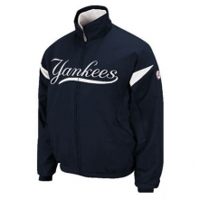 New York Yankees Triple Peak Therma Base Premier Dugout Jacket - Navy