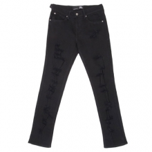 Skinny Fit Pants - Black Shredded