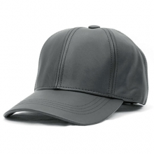 Leather Baseball Cap - Charcoal